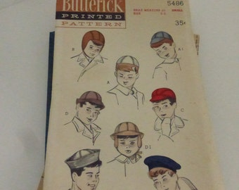 Rescued Vintage Butterick Pattern 5486 Set of Boys Hats Size Small