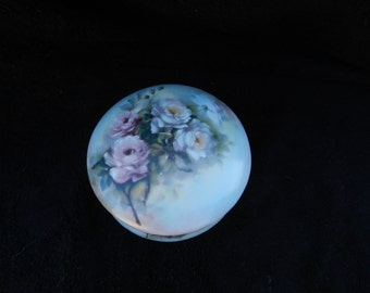 Powder Box: Hand Decorated Porcelain