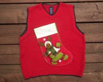 Children's Kids Ugly Christmas Sweater Red Vest Walking Bear Stocking Size Medium 10-12