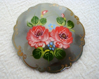 Vintage Russian Brooch - Hand Painted Russian Brooch - Russian Pin - Russian Black Lacquer Floral Pin -