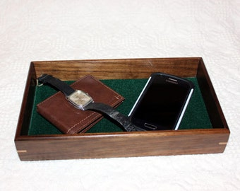 Men's Valet Box - Wooden Tray or Dresser Box - Walnut with Maple Accent
