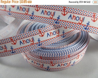 Anchors away, Ahoy ribbon, Anchor Ribbon, Nautical Ribbon, grosgrain ribbon, wholesale ribbon, 7/8 Inch Ribbon, RN14755