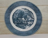 Vintage Currier & Ives Royal Porcelain Plate - The Old Grist Mill - Americana - Blue and White - Home Decor - Collectibles