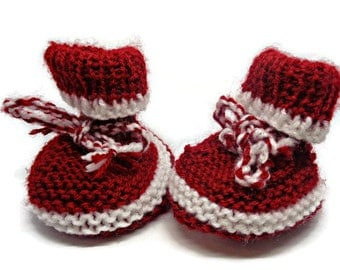 red white bootees, knit baby sneakers, red baby trainers, knit baby shoes, newborn gift, baby shower gift, stripy baby shoes, uk baby shoes