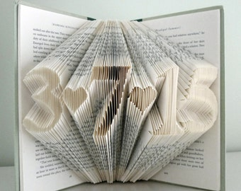 Paper Anniversary Gift for Him - Her - Wedding Date Gift - First Anniversary - Folded Book Art Paper Anniversary Best Selling Items Wedding
