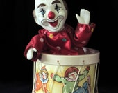 Moving Clown Music Box in Drum - Rocking Motion - Animated Clown Moves Back and Forth - Vintage Home Decor