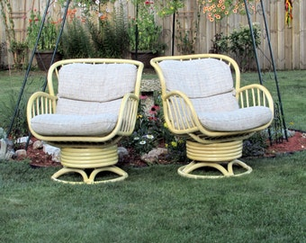 High End Rattan Swivel Rocking Chairs Pair   Vintage Bamboo   Wicker    Rattan   Furniture