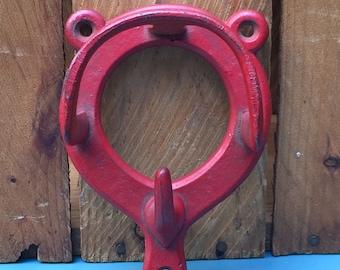 Vintage Red Metal Horse Tack Hook