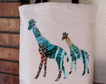 Giraffes Large Grocery Bag Tote Canvas