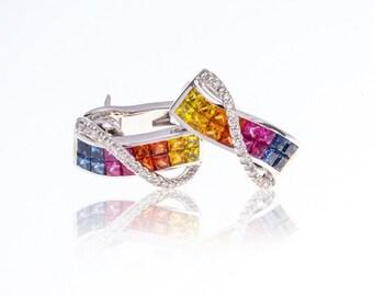 Multicolor Rainbow Sapphire & Diamond 14K Gold Earrings (3.35ct tw): SKU 25159 + 25493