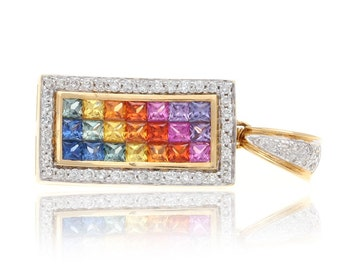 Multicolor Rainbow Sapphire & Diamond Rectangle Pendant 18K Gold (3.68ct tw) SKU: 15898