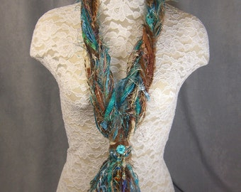 SKINNY STRING SCARF/Necklace for women in pretty Teal, Brown and Ivory - with Glass Beads added - Perfect for Christmas - Novelty yarn