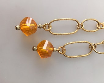 IBA Jewelry, Czech Glass, PIERCED Earrings, Handcrafted Earrings, Dangle Earrings, Double Link, Faceted Glass, INSPIRED by Amber