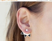 SALE Valentines day silver ear jackets: geometric spiky stud earrings, in silver and black, unique ear jackets. a pair of stud ear jacets