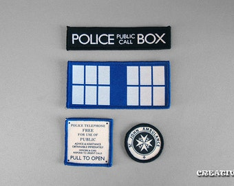 Inspired Doctor Who, Set of 4 Tardis patches