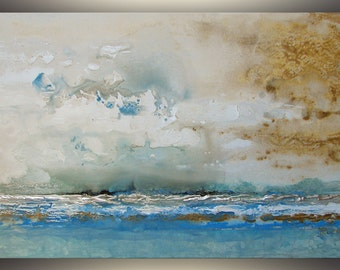 Abstract Painting Blue, Seascape Art, Wall Art, Abstract Art Contemporary Art Acrylic Painting Home Decor Modern Art Painting by TR, Ruzin