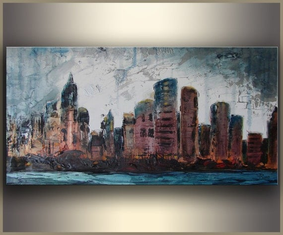 """Cityscape 15""""x30"""" ORIGINAL art Abstract Painting on stretched canvas acrylic painting - landscape painting by Tatjana Ruzin -"""