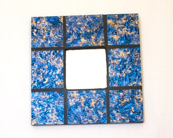 Decorative Wall Mirror, Modern Wall Decoration, Cool Living Room Decor, Stained Glass Mosaic, Unique Room Accessories, Blue and Gold