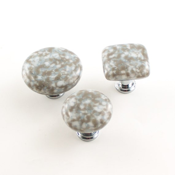 Gray Knobs, Kitchen Cabinet Knobs, Fused Glass, Modern Drawer Pulls