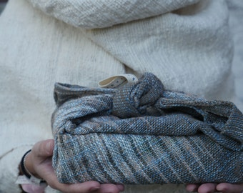 Multi-purposed tea towel: handwoven organic cotton (dyed from mud/Ebony and Indigo leaves)