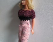 Barbie clothes - pink, black and maroon short-sleeved dress