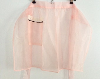 Vintage Sheer Pink Apron With Lace Pocket And Surprise Vintage Blue Lace Edge Apron Included