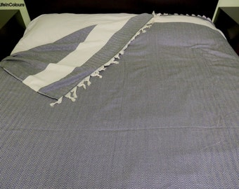 Black colour herringbone patterned Turkish soft cotton bed cover, blanket, bedspread, throw.