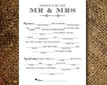 Mad Libs Wedding Card for Guests - Wedding Advice Words of Wisdom - Printable DIY