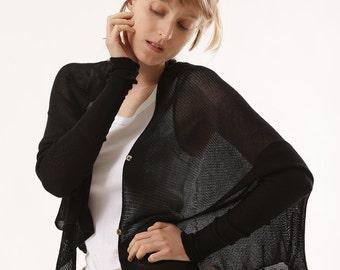 Black knitted short cardigan, Black jacket,summer cardigan, Handmade of organic Bamboo