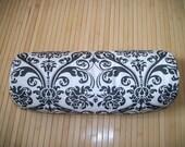 "Bolster Pillow. Neck Roll. Slate Grey and White Medallion Pillowcase, and Buckwheat filled insert.  Zippered. 15"" x 5"".  Handmade USA"