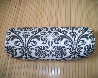 "Bolster Pillow. Neck Roll. Slate Grey and White Medallion Pillowcase, and Buckwheat filled insert.  Zippered. 15"" x 5"".  Handmade USA"