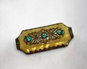 Vintage Czech Brooch, Art Deco Brooch, Yellow Glass Rhinestone Brooch, 1940s Jewelry