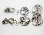 Art Deco Crystal Earrings, Drop Dangle Bridal Wedding Earrings, Vintage Rhinestone 1930s Jewelry