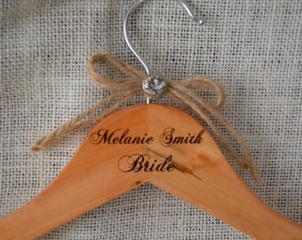 Rustic Wedding Hanger Wood Personalized- Engraved