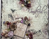 Premade Scrapbook Page, Shabby Chic, Vintage, Altered