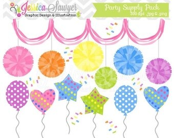 80% OFF - INSTANT DOWNLOAD,  party clipart, pom pom clip art, balloon graphic, for commercial use, greeting cards, invitations, scrapbooking
