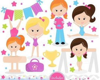 80% OFF - INSTANT DOWNLOAD, Gymnastics Clipart clip art, girls little tumbler clipart, tumbling graphics for invitations