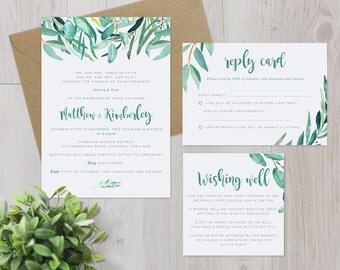 Printable DIY Wedding Stationery - Eucalyptus Leaves