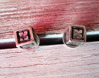 Pretty Small Silver Cube Earrings