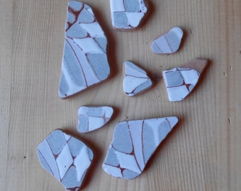 Genuine Sea pottery , beach pottery, fantasy pattern,square grey and white, supplies, crafting, jewelry, 8 pezzi      Lotto178