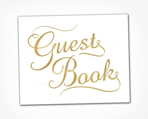 Gold wedding guest book sign printable instant download Calligraphy books free