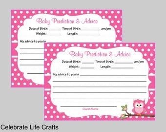 Baby Shower Prediction and Advice Cards Mommy - Printable Baby Shower Games and Activities- Pink Owl Baby Girl - B2003