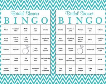 100 Bridal Bingo Cards - Blank & 100 Prefilled Cards - Printable Bridal Shower Game - Download Bridal Shower Games - Pool Blue Bridal BR009
