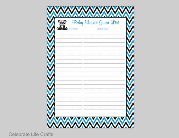 Panda Baby Shower Guest List - Printable Baby Shower Sign in Sheet ...