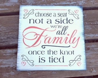 navy blue coral wedding Sign/Choose a seat not a side knot is tied/NO seating plan/Wood sign/Seating Arrangement/Shabby Chic Wedding