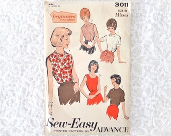 Vintage Advance Blouse Pattern 3011 Size 20 Sew - Easy Beginners Pattern