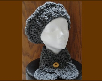 Crochet Chunky Shell Beret and Button Neckwarmer Scarf Charcoal Gray Warm Acrylic Scarflette Hat