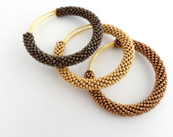 Bronze Bracelet/Brass Bangles/Gift for Her/3 Bangle Bracelets/Adjustable Bangles/Beaded Accessories