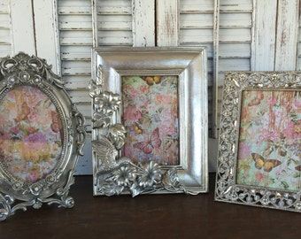 Hummingbird Baroque Silver Picture Frame 4x6 - Set of 3 Ornate Eclectic Frames - Table Top Easel Back - Oval Rectangle Frames