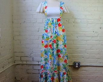 Hippie Dress Hawaiian Maxi Daisy Floral White Eyelet Vintage 1960s SMALL Blue Green Red Yellow Cotton Butterfly Sleeves Princess Kaiulani